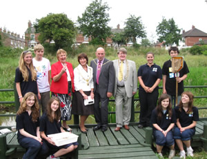 Pupils from St Peter's School with the Mayor of York at Leeman Road Millennium Green
